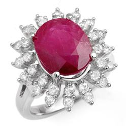 7.21 CTW Ruby & Diamond Ring 18K White Gold - REF-155M8H - 13211