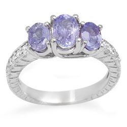 2.50 CTW Tanzanite & Diamond Ring 14K White Gold - REF-60M5H - 10776