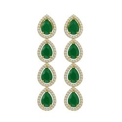 10.2 CTW Emerald & Diamond Halo Earrings 10K Yellow Gold - REF-155W5F - 41140