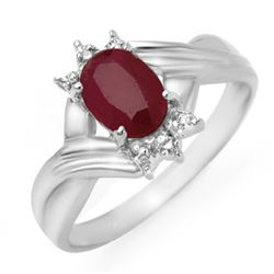 1.12 CTW Ruby & Diamond Ring 10K White Gold - REF-15Y8K - 14188