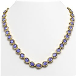 40.53 CTW Tanzanite & Diamond Halo Necklace 10K Yellow Gold - REF-845W8F - 41053