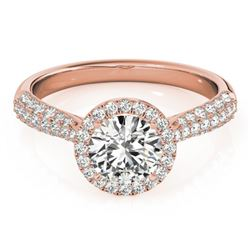 1.4 CTW Certified VS/SI Diamond Solitaire Halo Ring 18K Rose Gold - REF-380Y2K - 26186