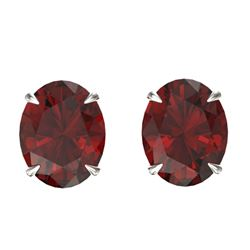 7 CTW Garnet Designer Inspired Solitaire Stud Earrings 18K White Gold - REF-34A9X - 21663
