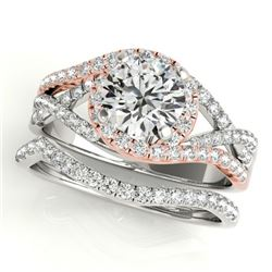 2.15 CTW Certified VS/SI Diamond 2Pc Set Solitaire Halo 14K White & Rose Gold - REF-581K5W - 31015