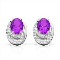 2.50 Amethyst & Micro Pave VS/SI Diamond Stud Earrings 10K White Gold - REF-25W6F - 22323