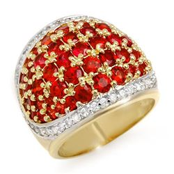5.75 CTW Red Sapphire & Diamond Ring 14K Yellow Gold - REF-142T2M - 10633