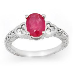 2.31 CTW Ruby & Diamond Ring 14K White Gold - REF-62K4W - 13978