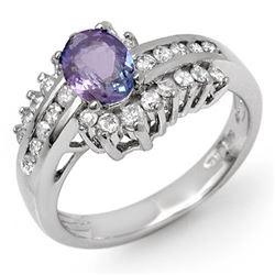 1.50 CTW Tanzanite & Diamond Ring 18K White Gold - REF-90F9N - 11887