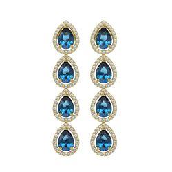 7.81 CTW London Topaz & Diamond Halo Earrings 10K Yellow Gold - REF-139X5T - 41176
