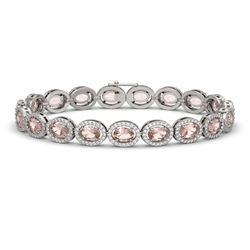 14.25 CTW Morganite & Diamond Halo Bracelet 10K White Gold - REF-294W2F - 40463