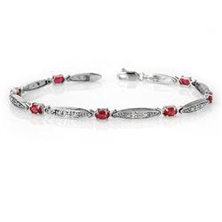 2.75 CTW Ruby & Diamond Bracelet 10K White Gold - REF-38K2W - 14321