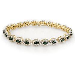 9.42 CTW Emerald & Diamond Bracelet 14K Yellow Gold - REF-345K5W - 13991