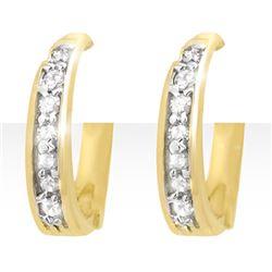 0.20 CTW Certified VS/SI Diamond Earrings 10K Yellow Gold - REF-27T3M - 12769