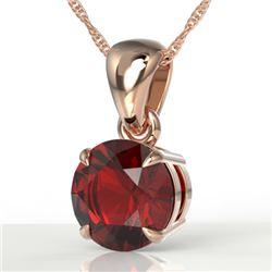 2 CTW Garnet Designer Inspired Solitaire Necklace 14K Rose Gold - REF-24A9X - 22022