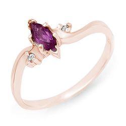 0.29 CTW Amethyst & Diamond Ring 14K Rose Gold - REF-15X5T - 12379