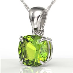 2 CTW Cushion Cut Peridot Designer Solitaire Necklace 18K White Gold - REF-28T2M - 21953