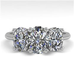 2.0 CTW Oval Cut VS/SI Diamond 3 Stone Designer Ring 18K White Gold - REF-390A2X - 32469