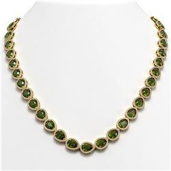 35.13 CTW Tourmaline & Diamond Halo Necklace 10K Yellow Gold - REF-775T5M - 41065