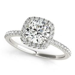 1 CTW Certified VS/SI Diamond Solitaire Halo Ring 18K White Gold - REF-188K2W - 26197