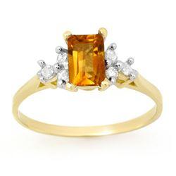 1.14 CTW Citrine & Diamond Ring 10K Yellow Gold - REF-13Y6K - 13376