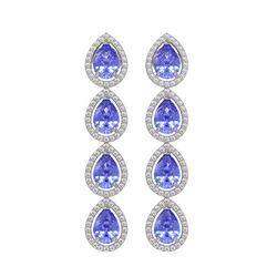 9.01 CTW Tanzanite & Diamond Halo Earrings 10K White Gold - REF-193W6F - 41147