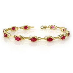 8.50 CTW Ruby Bracelet 10K Yellow Gold - REF-68T2M - 14234