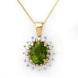 3.55 CTW Green Tourmaline & Diamond Necklace 10K Yellow Gold - REF-73A6X - 10795