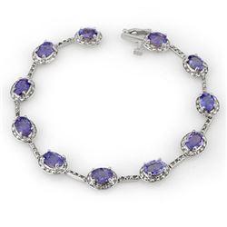11.40 CTW Tanzanite & Diamond Bracelet 14K White Gold - REF-146A5X - 10619