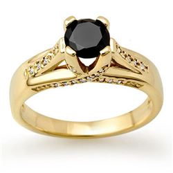 1.18 CTW VS Certified Black & White Diamond Ring 14K Yellow Gold - REF-64N2Y - 11882