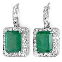 3.50 CTW Emerald & Diamond Earrings 14K White Gold - REF-53W5F - 10205