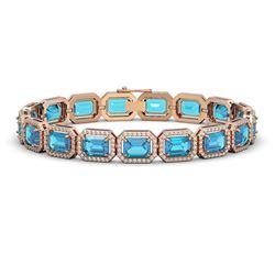 23.66 CTW Swiss Topaz & Diamond Halo Bracelet 10K Rose Gold - REF-311F3N - 41412