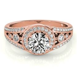 1.15 CTW Certified VS/SI Diamond Solitaire Halo Ring 18K Rose Gold - REF-218Y2K - 26743