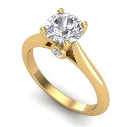 1.36 CTW VS/SI Diamond Solitaire Art Deco Ring 18K Yellow Gold - REF-490Y9K - 37291