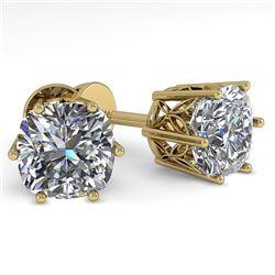 1.0 CTW VS/SI Cushion Cut Diamond Stud Solitaire Earrings 18K Yellow Gold - REF-178H2A - 35833