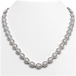 27.93 CTW Opal & Diamond Halo Necklace 10K White Gold - REF-644M5H - 41057