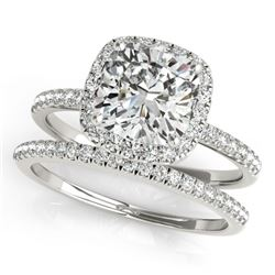 1.26 CTW Certified VS/SI Cushion Diamond 2Pc Set Solitaire Halo 14K White Gold - REF-233A5X - 31400