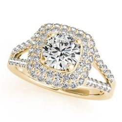 1.53 CTW Certified VS/SI Diamond Solitaire Halo Ring 18K Yellow Gold - REF-239X3T - 26466