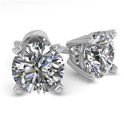 1.0 CTW VS/SI Diamond Stud Designer Earrings 14K White Gold - REF-120A2X - 38353