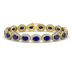 22.89 CTW Sapphire & Diamond Halo Bracelet 10K Yellow Gold - REF-291M5H - 40609