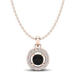 0.38 CTW VS/SI Diamond Micro Pave Necklace Solitaire Halo 14K Rose Gold - REF-27T6M - 20366