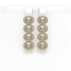 5.92 CTW Oval Diamond Designer Earrings 18K Yellow Gold - REF-1094N9Y - 42820