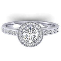 1.65 CTW Certified VS/SI Diamond Solitaire Micro Halo Ring 14K White Gold - REF-228N5Y - 30429