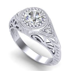 1.07 CTW VS/SI Diamond Art Deco Ring 18K White Gold - REF-321K2W - 36884