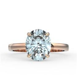 3.50 CTW Sky Blue Topaz Designer Inspired Solitaire Ring 14K Rose Gold - REF-24K5W - 22085