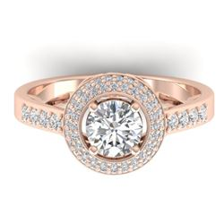 1.45 CTW Certified VS/SI Diamond Art Deco Micro Halo Ring 14K Rose Gold - REF-217F3N - 30487
