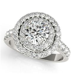 2.25 CTW Certified VS/SI Diamond Solitaire Halo Ring 18K White Gold - REF-443A3X - 26883
