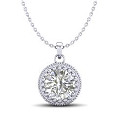 1 CTW VS/SI Diamond Solitaire Art Deco Necklace 18K White Gold - REF-292H5A - 36890