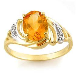 2.04 CTW Citrine & Diamond Ring 10K Yellow Gold - REF-20H2A - 10697