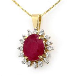 5.32 CTW Ruby & Diamond Pendant 10K Yellow Gold - REF-78X2T - 13814