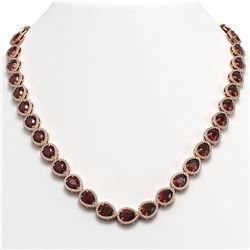 36.93 CTW Garnet & Diamond Halo Necklace 10K Rose Gold - REF-582X8T - 41088